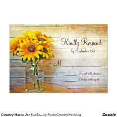 Country Mason Jar Sunflower Wedding RSVP Cards
