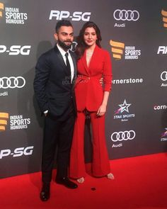 """5,279 Likes, 35 Comments - Instant Bollywood (@instantbollywood) on Instagram: """"Virat Kohli & Anushka Sharma make for a gorgeous couple on the red carpet of Indian Sports Honors…"""""""