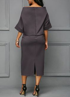 Back Slit Boat Neck Batwing Sleeve Dress Boat Neck Dress, I Dress, Party Dress, Elegant Dresses, Beautiful Dresses, Casual Dresses, Komplette Outfits, Fashion Outfits, Womens Fashion