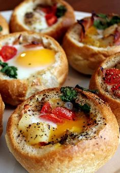 Customizable Bread Bowl Breakfast. Grab some veggies and your eggs for a great way to start your day. If you're hosting a brunch, then this is perfect.