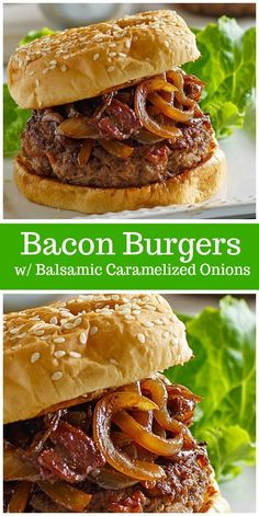 Bacon Burgers with Balsamic Caramelized Onions - Bacon Recipes - Homemade Burgers Bacon Recipes, Burger Recipes, Grilling Recipes, Gourmet Recipes, Dinner Recipes, Cooking Recipes, Easy Cooking, Casserole Recipes, Beef Bacon