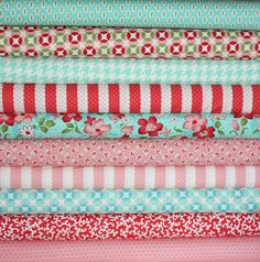 LOVE the pink & aqua combo -- hmm... what to make?    Vintage Modern by Bonnie and Camille fabric for Moda- Aqua and Red/Pink 1/2 Yard Bundle-10 Total. $50.00, via Etsy.