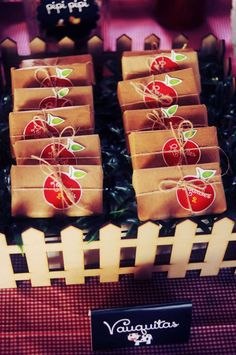 Apple favors at a farm birthday party! See more party planning ideas at CatchMyParty.com!