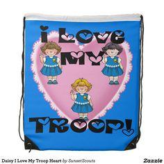 Daisy I Love My Troop Heart Drawstring Bag