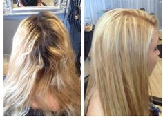 Before & after base color with hi lights using all Loreal professional color and styling products by trish