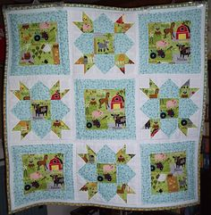 Back in May, I purchased some Oink A Doodle Moo fabric, by Jenn Ski for Moda. I made this baby boy quilt c. Owl Quilts, Baby Boy Quilts, Animal Quilts, Small Quilts, Easy Quilts, Chicken Quilt, Farm Quilt, Little Boy Blue, Quilted Gifts