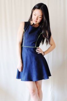 navy blue dress with neon piping #neon