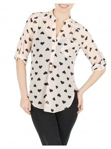 Show your romantic side with this soft chiffon heart-print blouse! The perfect piece for your next date—or simply to highlight your fashion-loving personality!