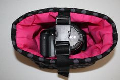 Camera Coozy Ta Dot Pink with safety strap 3 lens coozys Small Size XcessRize Designs Too custom listing for Angela. $89.95, via Etsy.