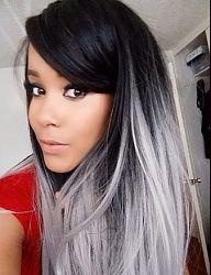 Black gray ombré hair