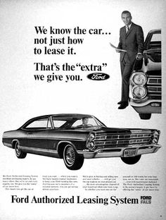 1967 Ford Authorized Leasing System original vintage advertisement. Photographed in black & white featuring the Galaxie 500 Coupe.