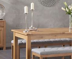 Somerset Oak Extending Dining Table with Camille Grey Fabric Benches Dining Table, Oak Furniture Superstore, Durable Table, Oak Dining Furniture, Oak Extending Dining Table, Grey Fabric Bench, Faux Leather Chair, Grey Fabric, Fabric Bench Seats