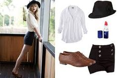 White half long sleeves, high waisted black shorts, brown oxfords and black hat.