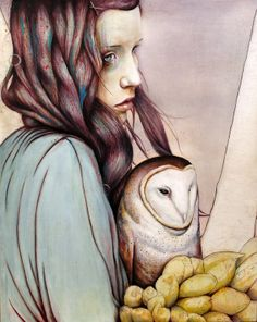 "Saatchi Online Artist: Michael Shapcott; Oil, Painting ""The Girl and the Owl"""