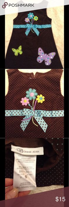 Brown corduroy jumper with butterflies size 5 Brown corduroy jumper with butterflies size 5T. Excellent condition. Bonnie Jean Dresses Casual