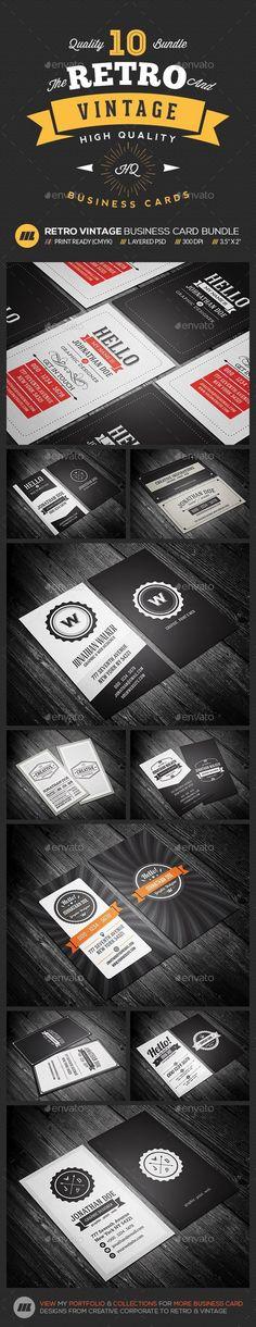 Buy Mega 10 in 1 Bundle - Retro Vintage Business Card Template by mengloong on GraphicRiver. 10 in 1 Mega Bundle – Classic Style Retro Business Card Template An amazing bundle of highly versatile retro, vintage. Premium Business Cards, Vintage Business Cards, Business Card Psd, Business Card Design, Print Templates, Card Templates, Retro Design, Graphic Design, 3d Design
