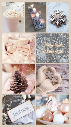 Winter Wallpaper Collage - Best of Wallpapers for Andriod and ios Christmas Collage, Christmas Mood, Noel Christmas, Pink Christmas, All Things Christmas, Xmas Holidays, Christmas Lights, Happy Holidays, Winter Szenen