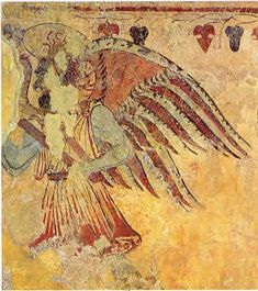 "RAS'NA (Etruscan) Mithology  TUCHULCHA  In Etruscan mythology, Tulchulcha was a chthonic daemon (not to be confused with the Christian term ""demon"") with pointed ears and hair made of snakes and a vulture beak.  Tulchulcha lived in the underworld known as ""Aita""."