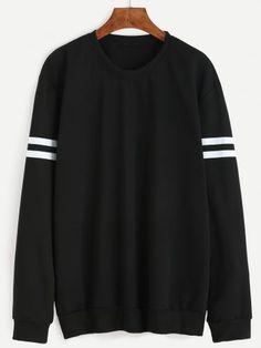 Black Varsity Striped Sweatshirt