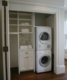Hidden laundry closet with stackable front loading washer and dryer and built-in storage drawers and shelves with beadboard paneling. Washer Dryer Closet, Laundry Closet, Laundry Room Organization, Laundry Room Design, Laundry In Bathroom, Laundry Area, Utility Closet, Tiny Closet, Basement Laundry
