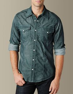 Max Smiley - True Religion  Mens Corduroy Rocky Western Shirt - (EVERGREEN) 149cfbc818