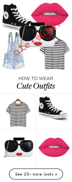 """cute outfit that everyone is wearing, but by far one of the cutesr"" by dolphinsforever on Polyvore featuring H&M, Converse, Lime Crime and Alice + Olivia"