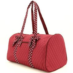 Quilted Solid 21' Duffle Bag /W Polkadot Accent *** Check out the image by visiting the link. (This is an Amazon Affiliate link and I receive a commission for the sales)