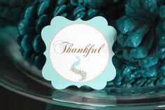 Thankful tag by BellaGrey Designs ~ Peacock Thanksgiving
