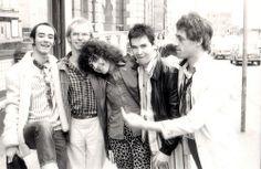 BP Fallon & Jeff Dexter & Marc Bolan & Boomtown Rats Johnnie Fingers & Bob Geldof outside the 'Marc' tv studios in Manchester 1977