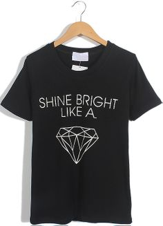 Black Short Sleeve Letters Diamond Print T-Shirt US$17.71