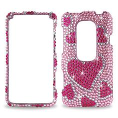 Hearts Full Diamond Skin Fitted 3D Case Cover for Mini HTC Evo - Pink  #Reiko