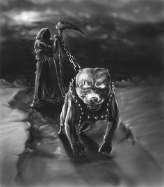 Grim Reaper and American King Pitbull - Art / Tattoo / Black and White Photo Death Reaper, Grim Reaper Art, Grim Reaper Tattoo, Don't Fear The Reaper, Dark Fantasy Art, Dark Art, Omerta Tattoo, Tattoo Pitbull, Reaper Drawing