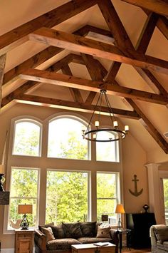Home Ceiling, Ceiling Beams, Ceilings, Steel Building Homes, Building A House, Timber Deck, A Frame House, Pole Barn Homes, Craftsman Style House Plans