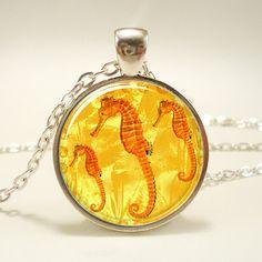 Seahorse Necklace Nautical Sea Horse Jewelry Yellow by rainnua, $14.45