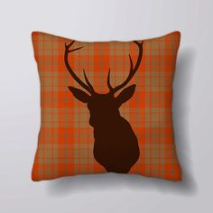 Stag / Deer Head Tartan   Cushion Cover Case Or Stuffed With