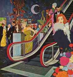 New Escalator! shared by Le Cirque des Rêves. New Years Eve Weddings, New Years Eve Party, Vintage Prints, Vintage Art, New Year's Eve Cocktails, World Of Tomorrow, Magazine Art, Worlds Of Fun, Vintage Advertisements