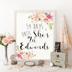 Pink Floral Bridal Shower Decor Days Until She is Mrs Sign printable DIY wedding Wedding Countdown Sign. Bridal Shower Printable - PF-18 by HappyLifePrintables on Etsy https://www.etsy.com/listing/275742872/pink-floral-bridal-shower-decor-days