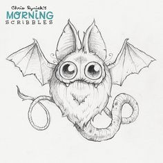 Batsnake #morningscribbles Doodle Drawings, Cartoon Drawings, Animal Drawings, Doodle Art, Cute Drawings, Cute Monsters Drawings, Cartoon Monsters, Little Monsters, Doodle Monster