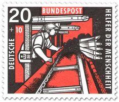 Alemania 1957 Minero en tajo con cepillo y mampostas de fricción