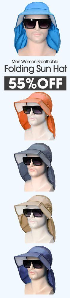 1d4aaf169a1d0 Men Women Breathable Folding Sun Hat Wide Brim Visor Bucket Hat Outdoor  Sport Anti-UV Fishing Hat