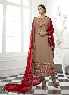 Straight Cut Style Brown with Lace Work Wonderful Unstitched Salwar Kameez