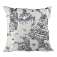 White & Silver Map Stud Cushion