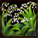 Original fine art design of delicate Lily of the Valley flowers by artist Carolyn McFann of Two Purring Cats Studio printed on a quality American Mojo pillow for floral art fans.