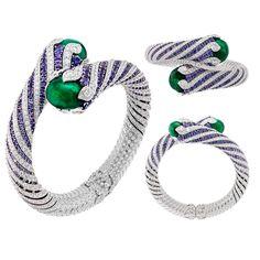 Van Cleef & Arpels Twist Émeraude violet sapphire and emerald high jewellery bracelet