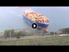 Tin! Giant cargo ship floats right on the football field of the University [best of the best]
