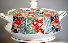 Arita Imari Fan Large Covered Porcelain Serving Casserole Dish #AritaImariFan