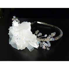 Design Couture Haarschmuck Reif Rose und Kristalle ivory