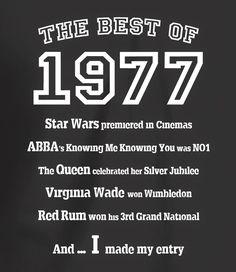 The Best of 1977- 40th Birthday T Shirt for Men