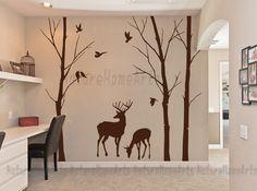 Love+forest+with+Deer-Vinyl+Wall+Decal+Sticker+von+NatureHomeArts+auf+DaWanda.com