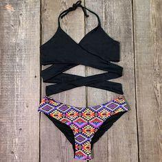 Very cute! #summer #bathingsuit Cupshe Set on Fire Cross Bikini Set